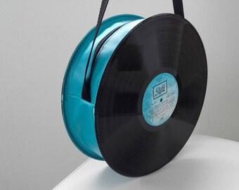 Vintage vinyl 33 tours and faux leather bag