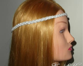 Braided headband, white Suede, rhinestones