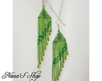 Green beads earrings