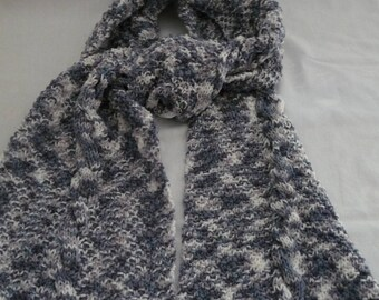 hand knitted scarf, acrylic very soft, shades of white and grey blue
