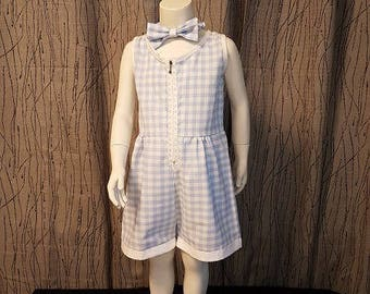 Blue Sky/white gingham cotton romper. 2/3/4 years old. HAND MADE