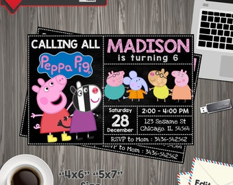 Peppa Pig Invitation, peppa pig Birthday, peppa pig Printable, peppa pig Editable, peppa pig PDF, peppa pig party birthday, peppa pig