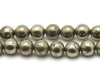 Wire 39cm 39pc env - stone beads - gold Pyrite balls 10 mm