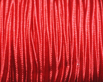 Reel 45 metres approx - cord lanyard fabric Satin Soutache 2.5 mm Red
