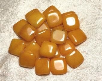 Stone - yellow Jade diamond 20mm 4558550015396 beads 2PC-