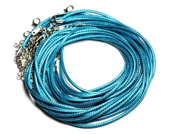 10pc - necklaces 45cm cotton waxed 2mm blue green Peacock - 4558550080912 neck sizes