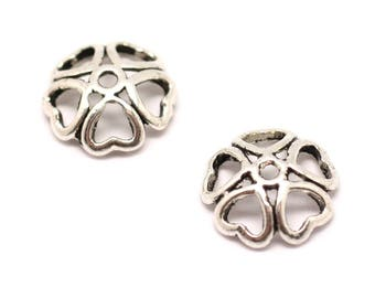 20pc - earring findings silver Metal flowers hearts clovers 10x3mm cups - 8741140001886