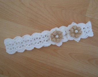 white lace crochet headband,flower