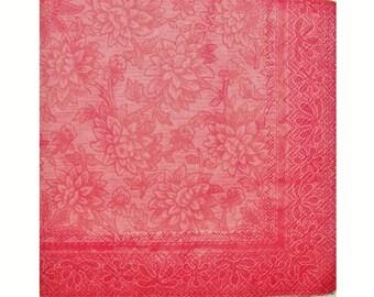 Set of 3 paper towels HOD037 floral Burgundy on red background