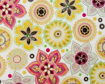 Set of 3 sheets of paper Decopatch patterns floral tones yellow / orange