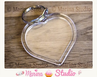 Heart key chain with acrylic Transparent 7.8 cm x 5.0 cm photo frame