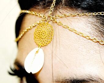 Headpiece - gold Bohemian Headband and shell