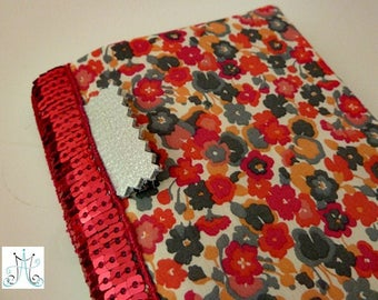 Checkbook wallet - Liberty Gleeson pink and glitter tape holder