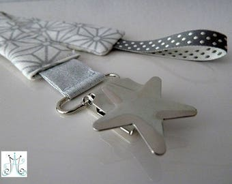 Pacifier clips form star - Asanoha silver