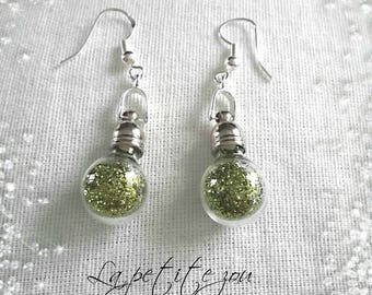 Earrings with fairy dust glass bottle