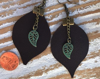 Leather Leaf earrings with turquoise leaf accent