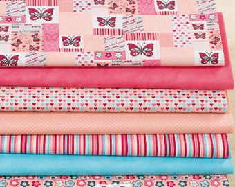 "Set of 7 fabric patchwork 30 x 20 ""Romantic Butterfly"""