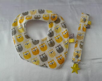 Pacifier clip and bandana bib with Terry vanilla and cotton OWL pattern yellow baby box