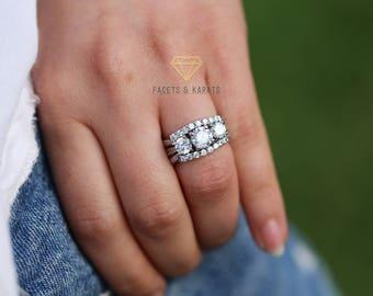 Unique Vintage Three Stone Engagement Ring Round Cut 2.5 Carat Wedding  Anniversary Past Present Future 3