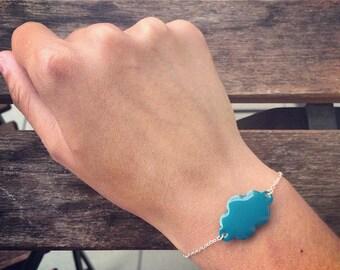 Bracelet with Teal enamel cloud