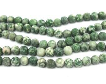 10 perles en jaspe vert 6 mm surface dépolie