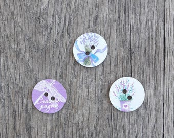Set of 5 wooden buttons, 24mm - lavender, dragonfly, flowers / / ID N61