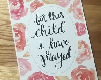 For This Child - Hand Lettered Drawing