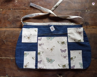 Spring apron for centerpiece or for the DIY trousers from jean fabric and fabric butterflies