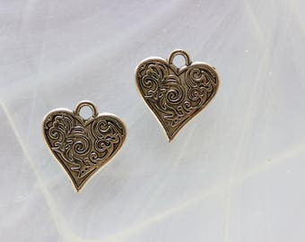 silver metal heart charm