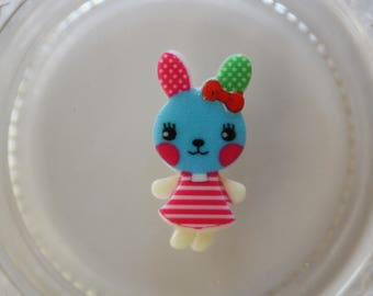 Blue and pink rabbit resin scrapbooking