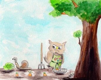 Humorous watercolor owls series: the gardener