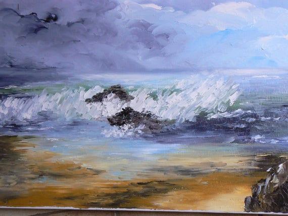 peinture a l'huile realisée au couteau représentant la mer