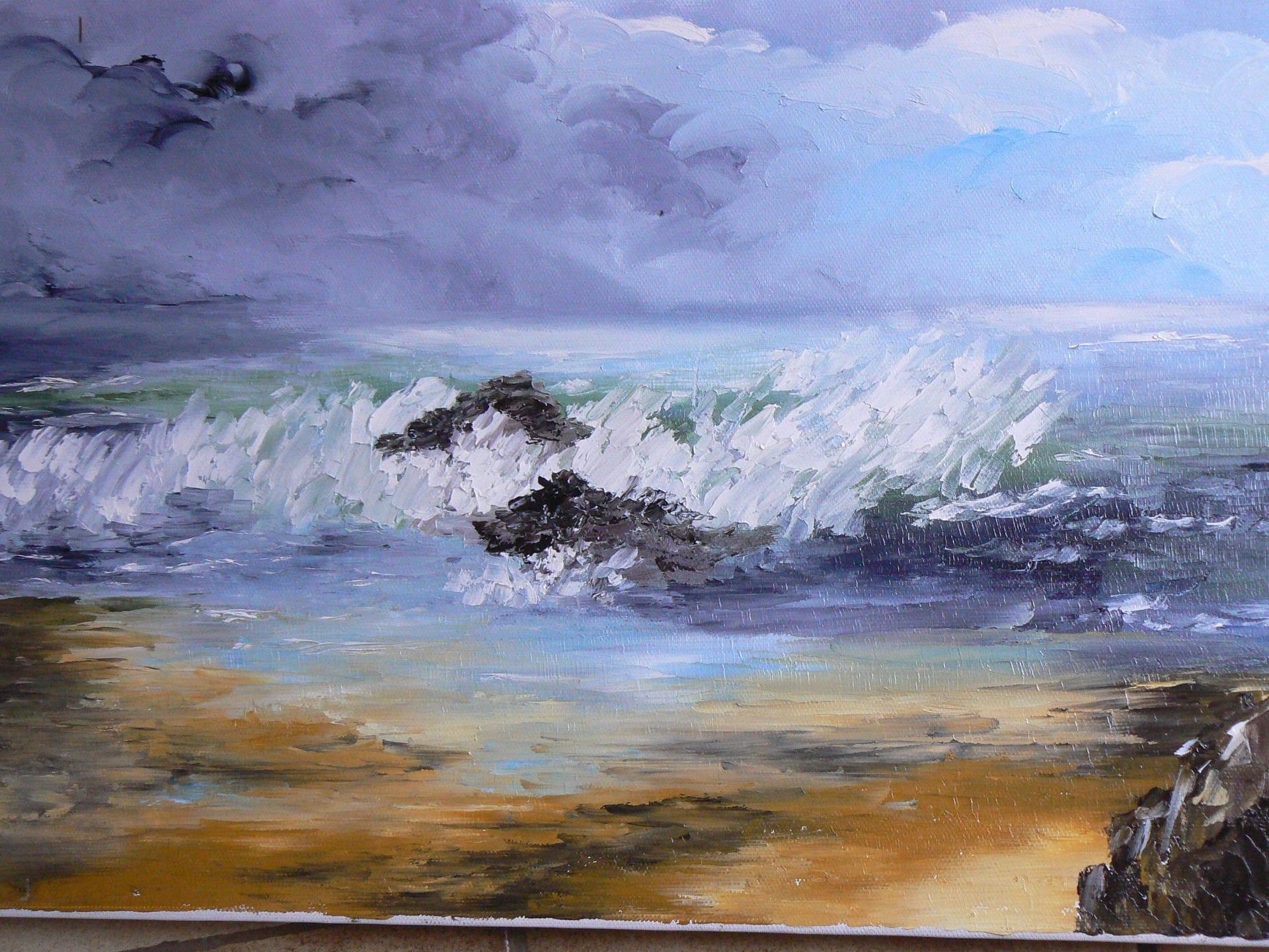 Peinture a l 39 huile realis e au couteau repr sentant la mer - Peinture au couteau huile ...