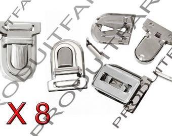 Set of 8 frame satchel bag clip Chrome 25 * 33 mm