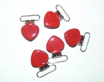 Pacifier clip-red heart