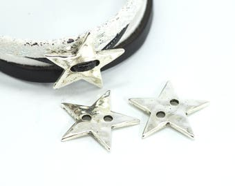 4 beads to put on star shape - Diam. 21 mm - 2 holes 2 mm - antique silver color