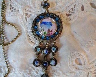 Bird necklace,  Sodalite necklace, gems necklace,  unique piece