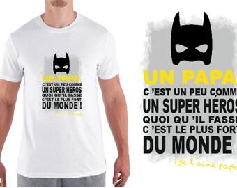 "tshirt homme ""papa super héros"""