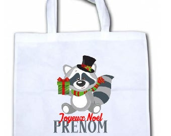 "PERSONALIZED tote bag/tote bag ""Little raccoon Christmas"""
