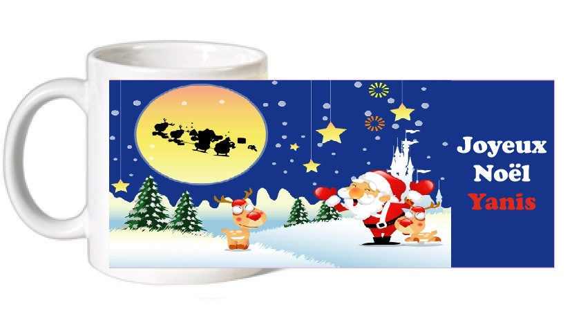 mug ceramique pere noel personnalise avec le prenom. Black Bedroom Furniture Sets. Home Design Ideas