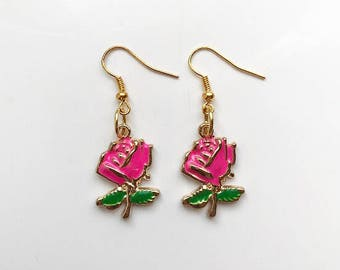 Hot Pink Rose Earrings