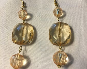 yellow clear earrings