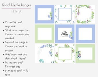 Instagram & Pinterest Template Pack - Floral  8 social media template pack