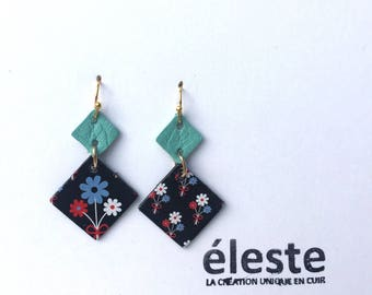 Green leather earrings / black origami pattern / lightweight earrings with hypoallergenic and anti oxidant clip