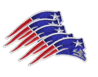 Set of 5 New England Patriots iron on patches, 2.875 inch 100% embroidered emblem