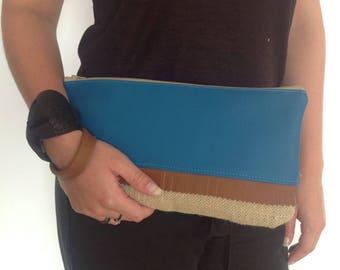 Alice blue faux duck and burlap bag