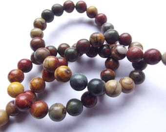 60 round smooth Jasper beads natural multicolor Picasso 6 mm REIA 422