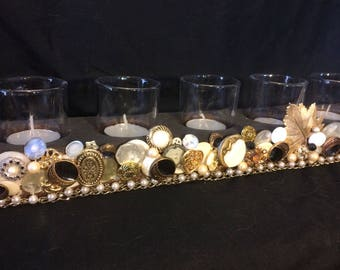 Decorated 7 votive candle holder