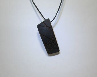 Wooden pendant, rectangular and black