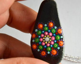 Pendant necklace stone painting